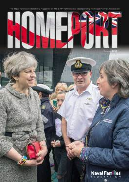 Homeport autumn 2017 cover, Theresa May talking to sailor and NFF member