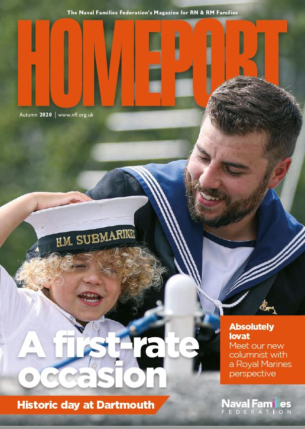 Front cover of Homeport Autumn 2020: Submariner and child wearing his hat.