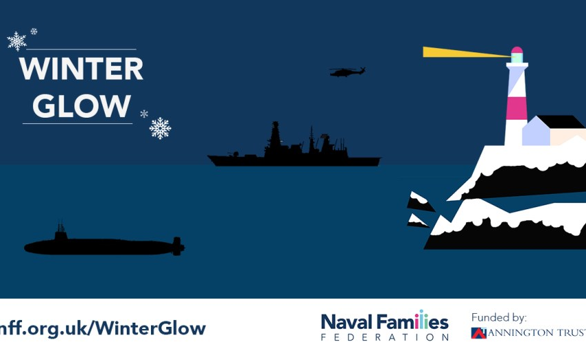 Poster for NFF Winter Glow project. Night time, with a lighthouse, T45, Wildcat and submarine.