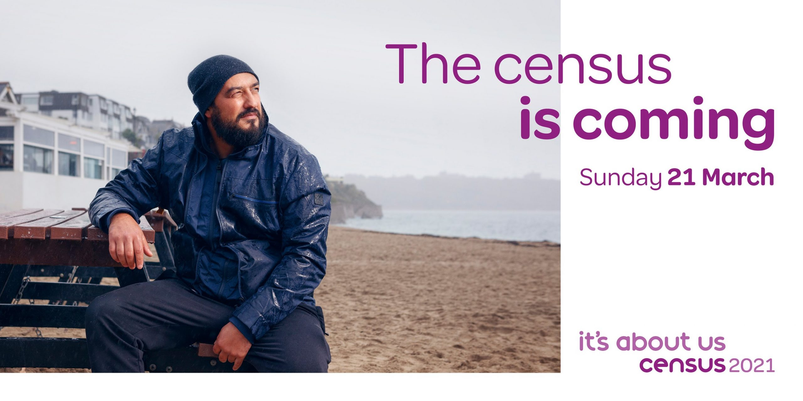 Poster of Census - The census is coming (21st March) with image of man looking away from camera