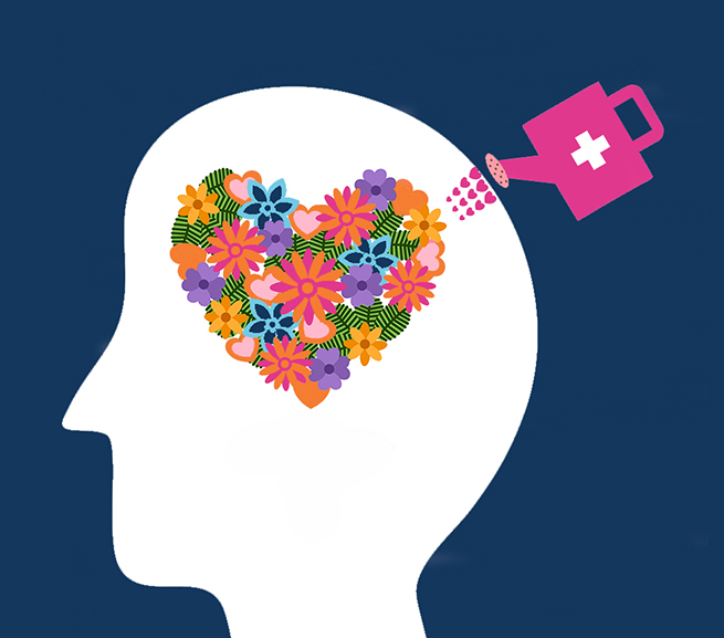 Illustration of a head. Its brain is made of flowers in the shape of a heart. A water can with a '+' sign is watering it.