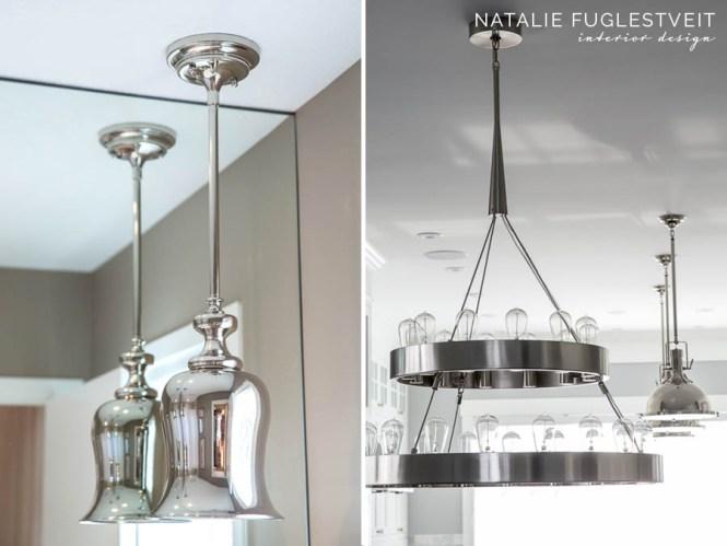 Uniqueness Of Lighting Polished Nickel Pendants By Calgary Interior Designer Natalie Fuglestveit Design