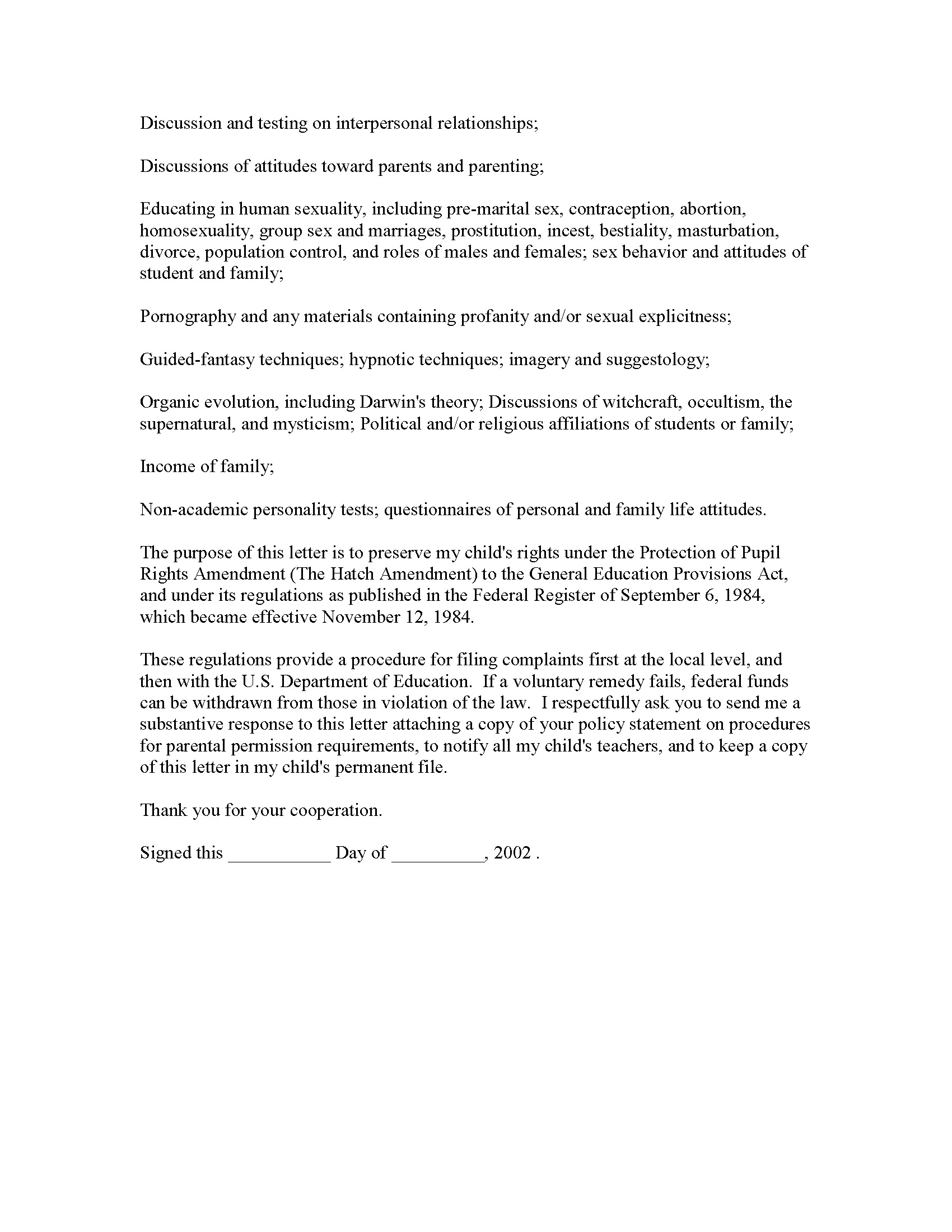 Sample Declaration Letter For Child Custody