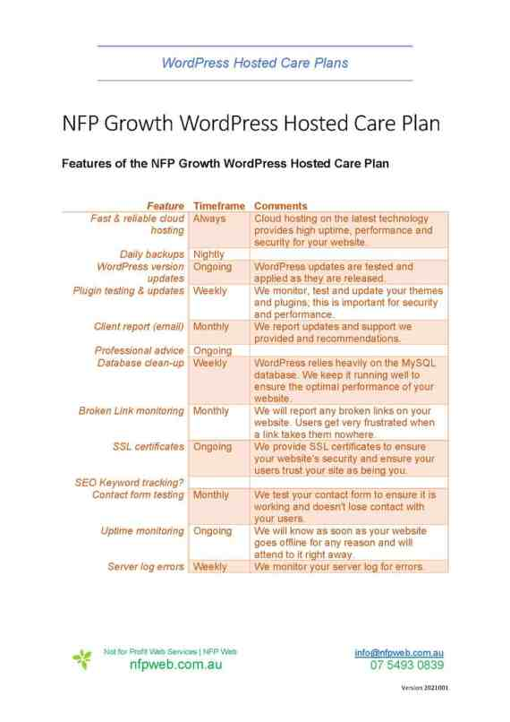Fact sheet - NFP Growth WordPress Hosted Care Plans