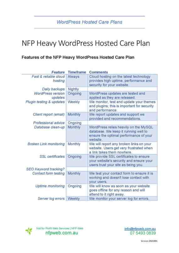 Fact sheet - NFP Heavy WordPress Hosted Care Plans