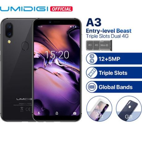 A3 5.5-Inch HD+ (2GB, 16GB ROM) Android 8.1 Oreo, 12MP+ 5MP Dual SIM 4G Smartphone (Global Band)