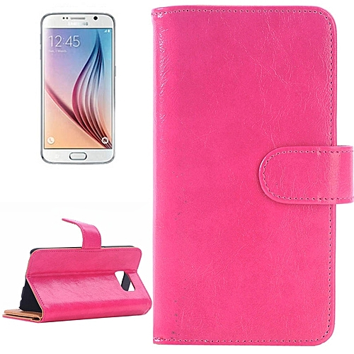 Generic For Samsung Galaxy S6 / G920 Oil Skin Texture Horizontal Flip Magnetic Buckle Leather Case With 3 Page Card Slots & Wallet & Holder (Magenta)