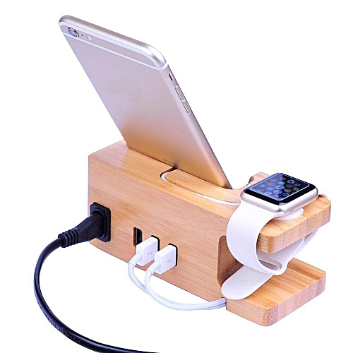 Louis Will Apple Watch Charging Stand , Aolvo Fast USB Bamboo Wood Charging Stand Stand With Power Adaptor, Bracket Docking Station Cradle Holder With 3-Port USB 2.0 Hub For Apple Watch 38mm 42mm  IPhones  Other Smartphones