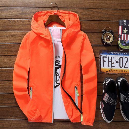Summer Men's Reflective Ultra-Light Windbreaker Super-Thin Hooded Jackets Skin Sunscreen Coat Packable Casual Er Jacket(#Orange) CUI