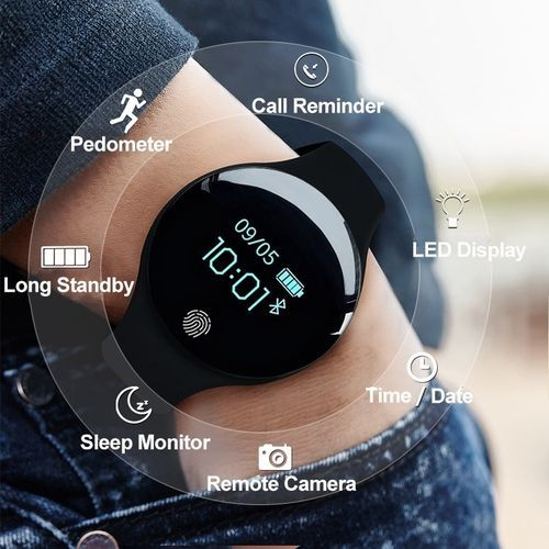 Heart Rate Monitor Fitness Tracker Smart Watch (Black)