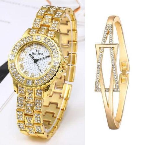 Elegant Fashion Women Leather Rhinestone Wrist Watch-Gold