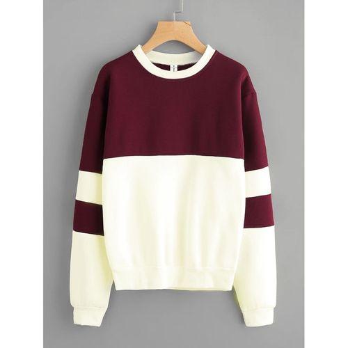 Long Sleeve Contrast Designed Sweatshirt- Off-White & Wine
