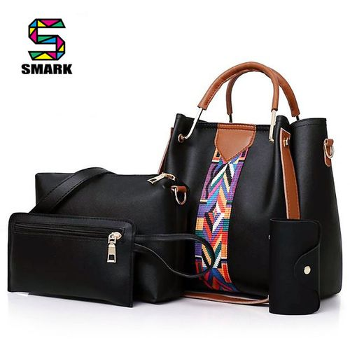 4 In 1 Women Hand Bag Ladies Handbag Female Cross Bag Purse School Bag Travelling Bag - Black