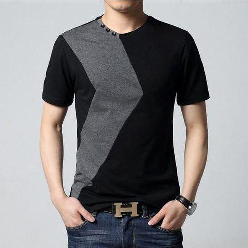 Button Designed Black Grey Contrast Round Neck T-Shirt