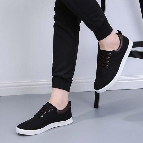 Solid Color Men Canvas Shoes Breathable Outdoor Casual-black