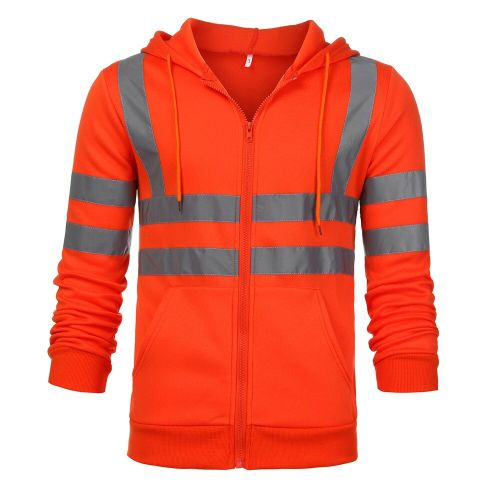 Men Jacket Road Work High Visibility Hooded Outwear Travel Outdoor Tracksuit Reflective Stripe D90520(#Orange) CUI