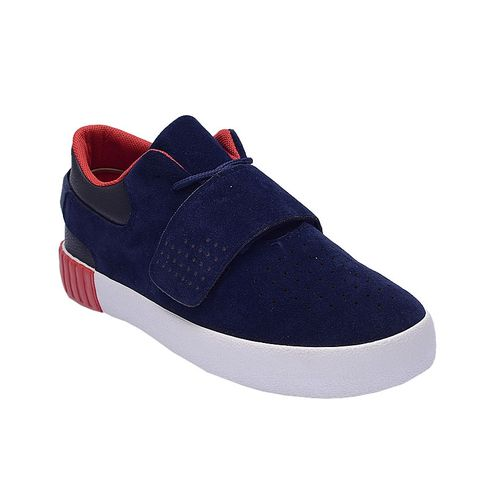 Suede Lace Up Sneakers With Velcro - Blue