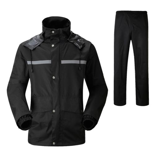 Durable Reflective Motorcycle Split Raincoat Pants Riding Bicycle Electric Bike Windproof Waterproof Rain Wear For Adult, Size: XL(Black)