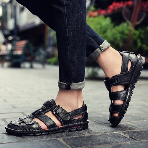 2020 Mens Fashion Slippers Sandals Leather Slippers -Black
