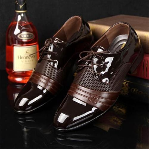Men's Formal Oxfords Leather Business Dress Shoes-Brown