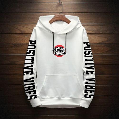 Positive Vibes Sweatshirt Hoodie- Off White