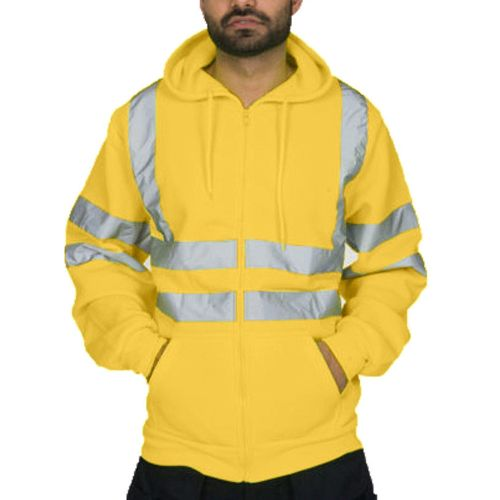 Mens Reflective Stripe Tops Sanitation Worker And Fireman Work Uniform Thickened Men's Hoodies Winter Outdoor Cold-proof Jacket(#yellow) CUI