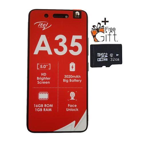 "A35 5.0"" HD Screen, 1GB RAM + 16GB ROM, Android 10, 3020mAh Battery, 5MP +2MP Camera, Face Unlock -Green +Free 32GB Card"
