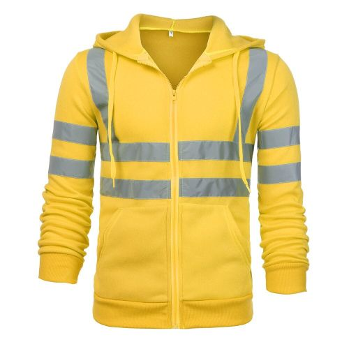 Men Jacket Road Work High Visibility Hooded Outwear Travel Outdoor Tracksuit Reflective Stripe D90520(#Yellow) CUI