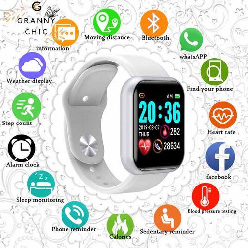 Bluetooth Smart Watches Men Waterproof Sport Fitness Tracker Smart Bracelet Blood Pressure Heart Rate Monitor Y68 Smartwatch-White