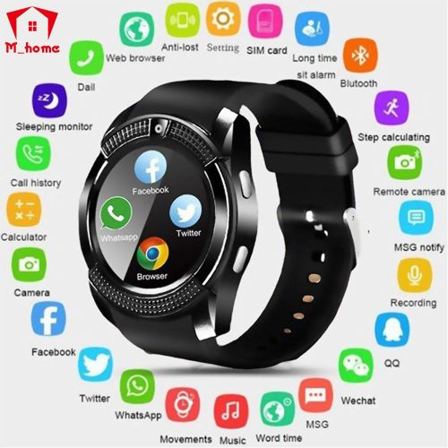 V8 Waterproof Bluetooth Smart Watches With Camera Fitness Bracelet Cool Clock Support TF Card Facebook Whatsapp (Black) BY-QY
