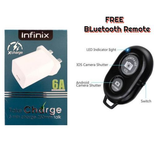 Fast Charger + USB Data Cable Pluse FREE Earpiece AND Bluetooth REMOTE Shutter For Selfie For All INFINIX