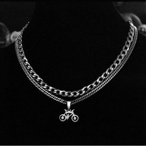 Cuban Link Chain With Bicycle Pendant