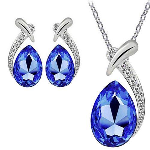Women Crystal Pendant Necklace Stud Earring Jewelry Set