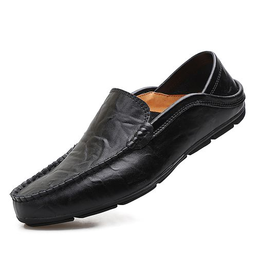 Mens Comfortable Loafers Soft Leather Slip On Shoes-Black