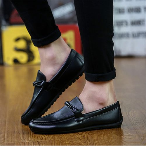 Men Casual Leather Driving Loafers Moccasins Slip On Flats