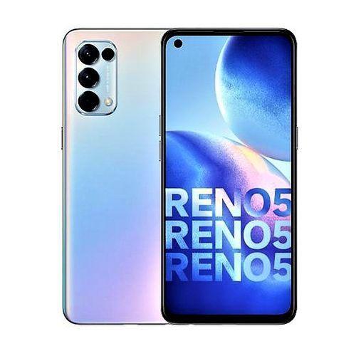 "Reno5, 6.4"" (8GB RAM, 128GB ROM) Android 11 (64/8/2/2)MP + 44MP Selfie - 4G LTE - 4310mAh - Fingerprint - Fantasy Silver"