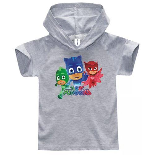 PJ Masks Children Hooded T-Shirt- Light Grey