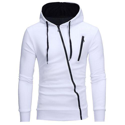 Oblique Zippers Color Block Fleece Hoodie Jacket Sweatshirts - WHITE