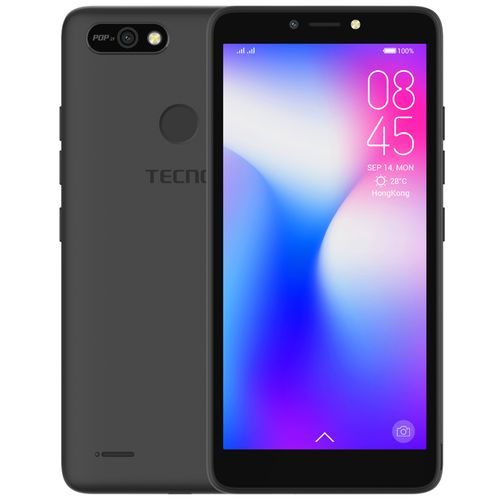 "POP 2F (B1G) 5.5"" Android 8.1, 16GB ROM + 1GB RAM, 8+5MP Beauty Camera, Fingerprint, Face ID, 2400mAh Battery - Black"