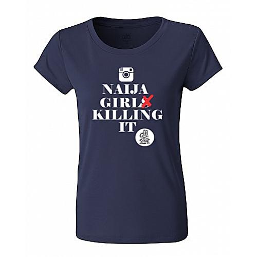 2Cool4School Naija Girl Killing It Print T-Shirt - Navy Blue