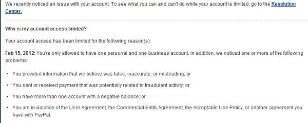 PayPal limit