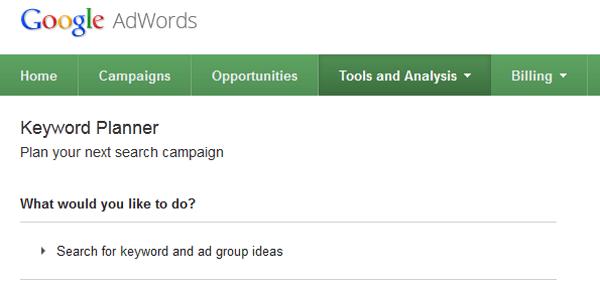 huong dan su dung keyword planner