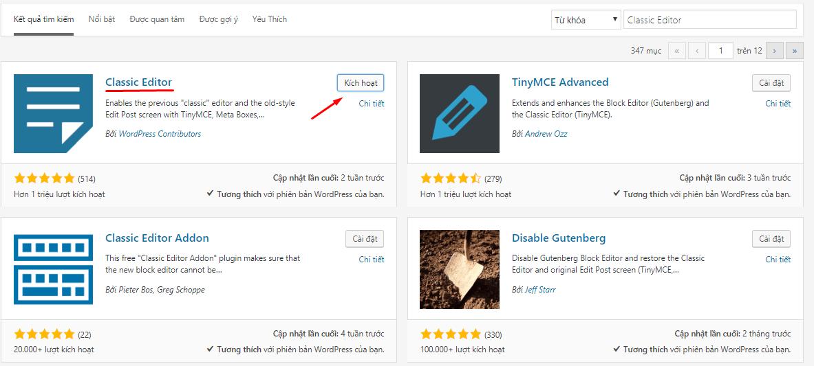 kích hoạt Classic Editor cho WordPress