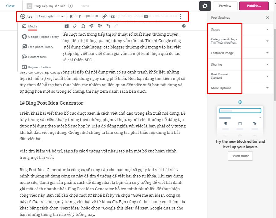 trình soạn thảo biên tập nội dung WordPress