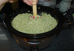 melting the grated soap