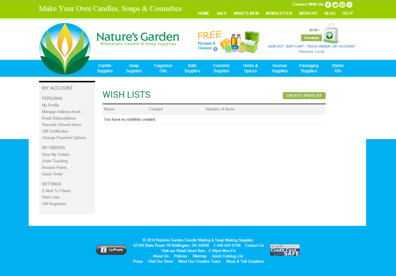 wishlists page on ng site - Natures Garden Candles