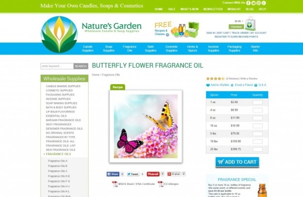 butterfly flower fragrance page