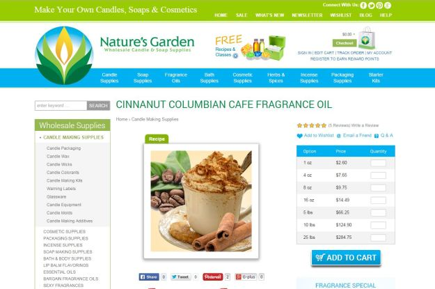 cinnanut columbian cafe fragrance page