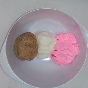 Neapolitan Ice Cream Bubble Bars Setting Up the Three Colors