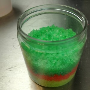 Rainbow Bath Salts Recipe: Adding the Green Mixture